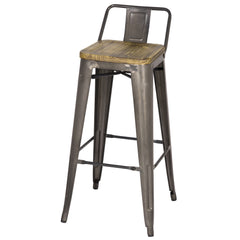 Metropolis Low Back Bar Stool  Wood Seat, Gunmetal - YourBarStoolStore + Chairs, Tables and Outdoor