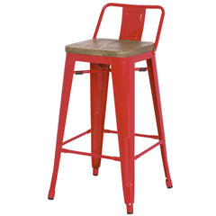 Metropolis Low Back Bar Stool Wood Seat, Red - YourBarStoolStore + Chairs, Tables and Outdoor
