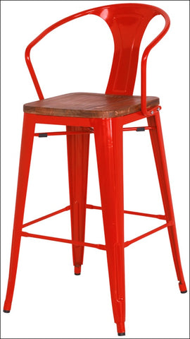Metropolis Metal Counter Stool Wood Seat, Red