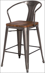 Metropolis Metal Bar Stool Wood Seat, Gunmetal - YourBarStoolStore + Chairs, Tables and Outdoor