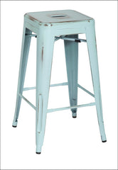 Metropolis Metal Backless Counter Stool, Distressed Blue - YourBarStoolStore + Chairs, Tables and Outdoor