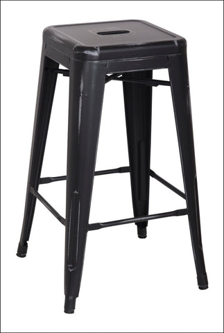 Metropolis Metal Backless Counter Stool, Distressed Black