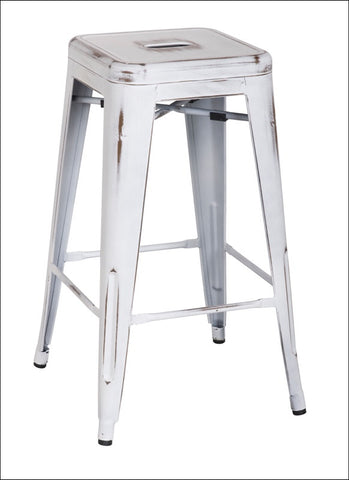 Metropolis Metal Backless Counter Stool, Distressed White