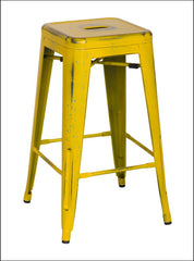 Metropolis Metal Backless Counter Stool, Dis.Yellow/Paint Drops - YourBarStoolStore + Chairs, Tables and Outdoor