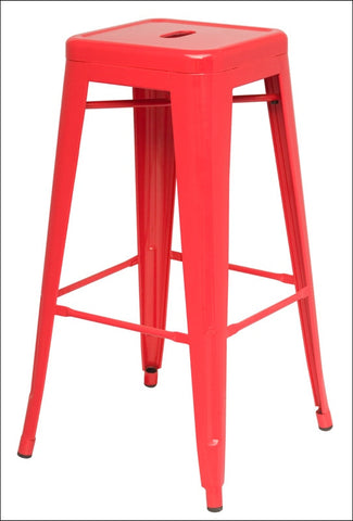 Metropolis Metal Backless Counter Stool, Red