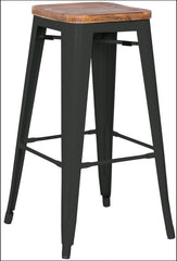 Metropolis Backless Counter Stool Wood Seat,  Black - YourBarStoolStore + Chairs, Tables and Outdoor