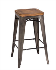 Metropolis Backless Counter Stool  Wood Seat, Gunmetal - YourBarStoolStore + Chairs, Tables and Outdoor