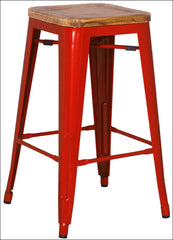 Metropolis Backless Counter Stool  Wood Seat, Red - YourBarStoolStore + Chairs, Tables and Outdoor