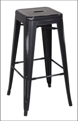 Metropolis Metal Backless Bar Stool, Distressed Black - YourBarStoolStore + Chairs, Tables and Outdoor