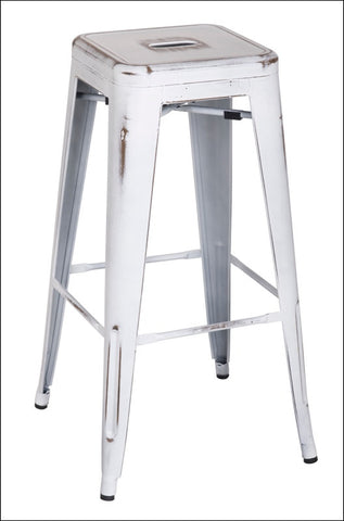 Metropolis Metal Backless Bar Stool, Distressed White
