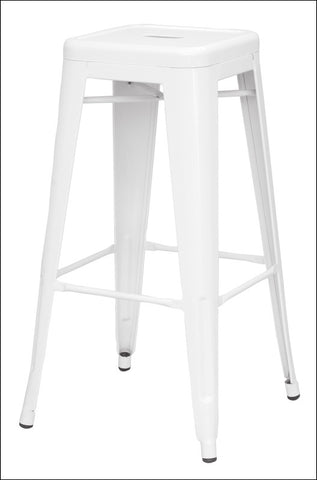 Metropolis Metal Backless Bar Stool, White