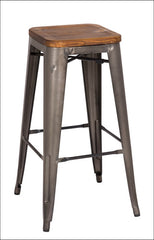Metropolis Backless Bar Stool Wood Seat, Gunmetal - YourBarStoolStore + Chairs, Tables and Outdoor