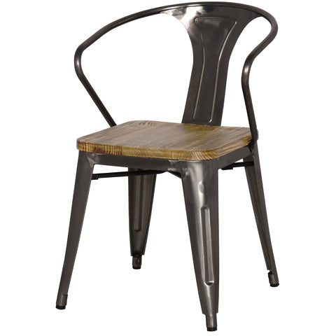 Metropolis Metal Arm Chair Wood Seat, Gunmetal