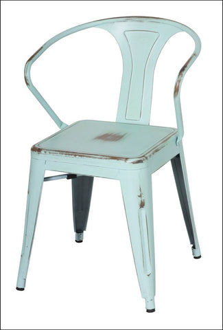 Metropolis Metal Arm Chair, Distressed Blue