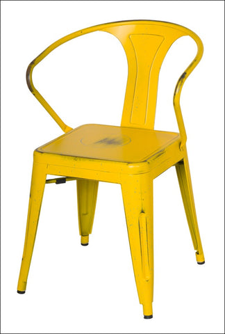 Metropolis Metal Arm Chair, Dis.Yellow/Paint Drops