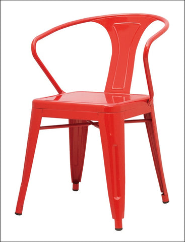 Metropolis Metal Arm Chair, Red