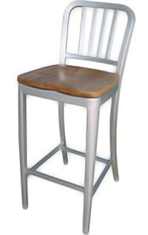 Aluminum Dining Chair with Wood Seat 30""