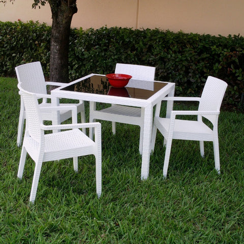 Compamia Miami Wickerlook Square Dining Set 5 Piece White with Armchairs ISP990S-WH