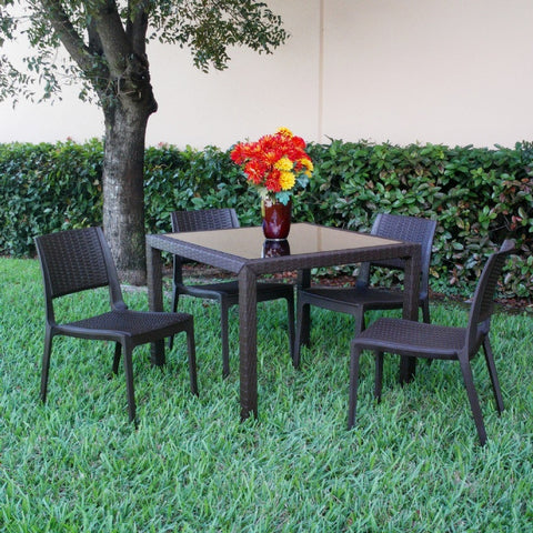 Compamia Miami Wickerlook Square Dining Set 5 Piece Brown with Side Chairs ISP992S-BR
