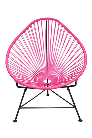 Innit Acapulco Chair Pink Weave On Black Frame