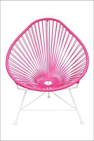Innit Acapulco Chair Pink Weave On White Frame