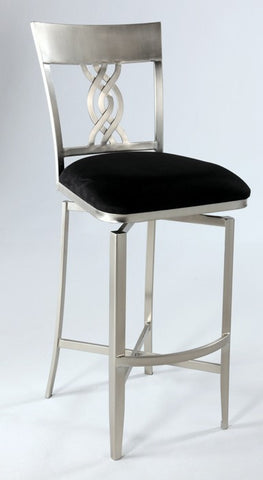 Chintaly Swirl Back Memory Swivel Bar Stool Black Microsuede ANGELINA-BS