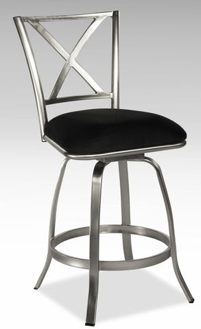 Chintaly X Back Swivel Bar Stool Black Microfiber AUDREY-BS