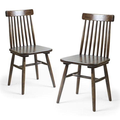 Elm Wood Vintage-Style Dining Chair with Vertical Slat Back (Set of two)