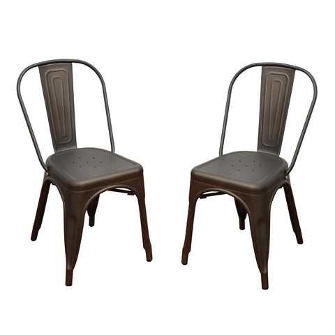 Bronze Metal Stackable Industrial Chic Dining Chair Outdoor and Indoor Set of Two