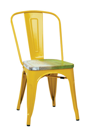 Tolix Bristow Metal Chair with Vintage Wood Seat, Yellow Finish Frame & Pine Alice Finish Seat, 4 Pack