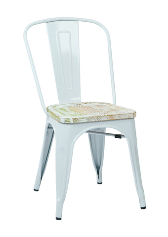 Tolix Bristow Metal Chair with Vintage Wood Seat, White Finish Frame & Pine Irish Finish Seat