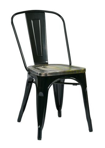Tolix Bristow Metal Chair with Vintage Wood Seat, Black Finish Frame & Ash Cameron Finish Seat, 4 Pack
