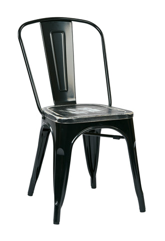 Tolix Bristow Metal Chair with Vintage Wood Seat, Black Finish Frame & Ash Crazy Horse Finish Seat, 4 Pack