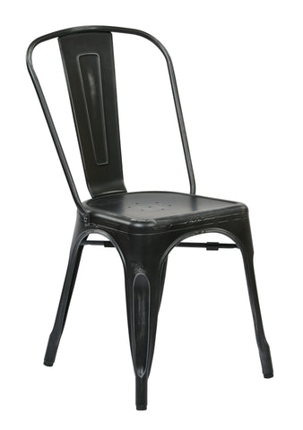 Tolix Bristow Armless Chair, Antique Black, 2 Pack