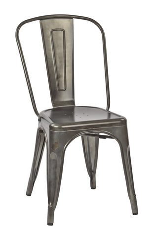 Tolix Bristow Armless Chair, Matte Galvanized Finish, 4 Pack