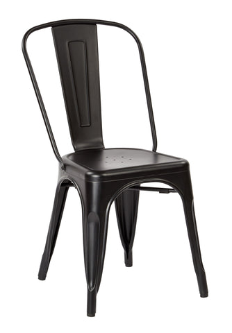 Tolix Bristow Armless Chair, Matte Black Finish, 4 Pack