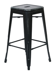 "Tolix Bristow 26"" Antique Metal Barstools, Antique Black, 2-Pack - YourBarStoolStore + Chairs, Tables and Outdoor"