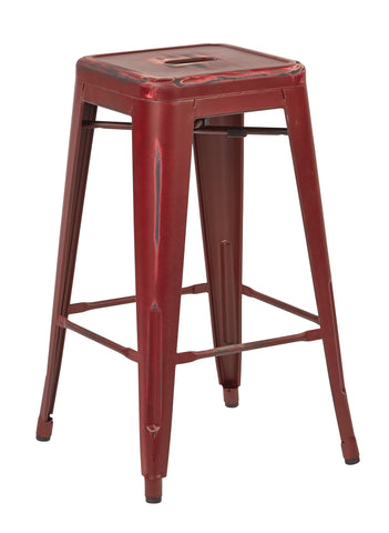 "Tolix Bristow 26"" Antique Metal Barstool, Antique Red Finish, 4 Pack"
