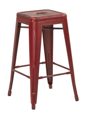 "Tolix Bristow 26"" Antique Metal Barstools, Antique Red, 2-Pack - YourBarStoolStore + Chairs, Tables and Outdoor"