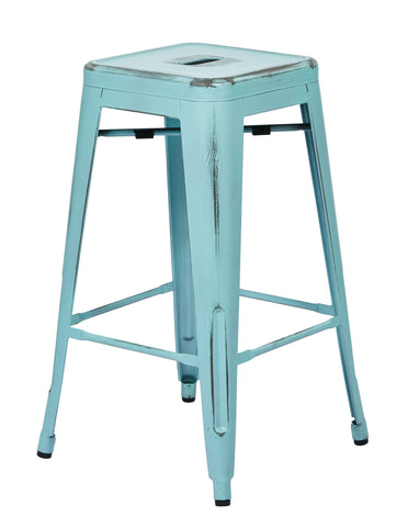 "Tolix Bristow 26"" Antique Metal Barstool, Antique Sky Blue Finish, 4 Pack"