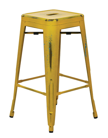 "Tolix Bristow 26"" Antique Metal Barstool, Antique Yellow with Blue Specks Finish, 4 Pack"