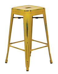 "Tolix Bristow 26"" Antique Metal Barstool, Antique Yellow with Blue Specks Finish, 4 Pack - YourBarStoolStore + Chairs, Tables and Outdoor"