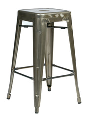 "Tolix Bristow 26"" Barstools, Gun Metal Finish. 4 Pack - YourBarStoolStore + Chairs, Tables and Outdoor"