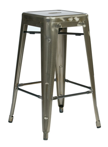 "Tolix Bristow 26"" Metal Barstools,  Gun metal Finish, 2-Pack"