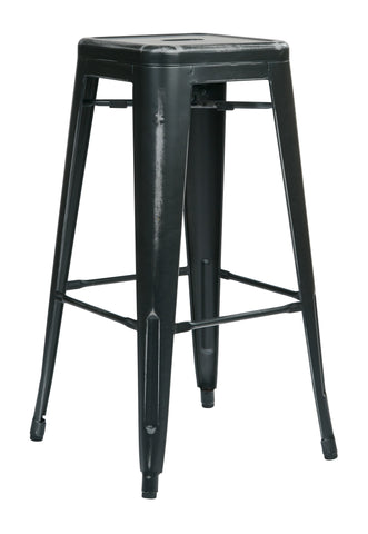 "Tolix Bristow 30"" Antique Metal Barstool, Antique Black Finish, 4 Pack"