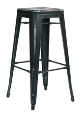 "Tolix Bristow 30"" Antique Metal Barstool, Antique Black Finish, 2 Pack - YourBarStoolStore + Chairs, Tables and Outdoor"