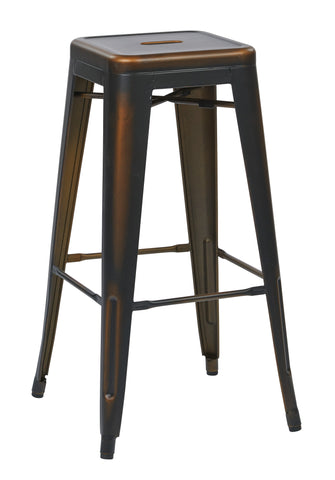 "Tolix Bristow 30"" Antique Metal Barstool, Antique Copper Finish, 2 Pack"
