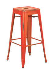 "Tolix Bristow 30"" Antique Metal Barstool, Antique Orange Finish, 2 Pack - YourBarStoolStore + Chairs, Tables and Outdoor"