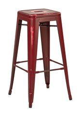"Tolix Bristow 30"" Antique Metal Barstool, Antique Red Finish, 4 Pack - YourBarStoolStore + Chairs, Tables and Outdoor"