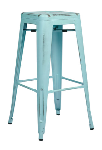 "Tolix Bristow 30"" Antique Metal Barstool, Antique Sky Blue Finish, 4 Pack"